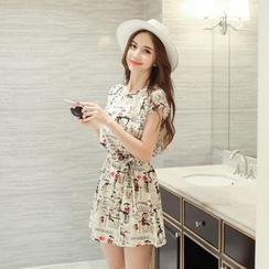 Shiga - Printed Short-Sleeve A-Line Dress