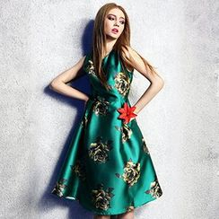 Queen Mulock - Sleeveless Printed A-Line Dress