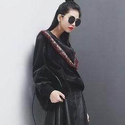 Sonne - V型立体图案加厚丝绒卫衣