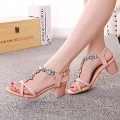 YOUIN - Jeweled Chunky-Heel Sandals