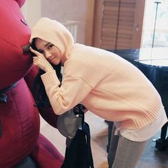 Seoul Fashion - Hooded Kangaroo-Pocket Knit Pullover