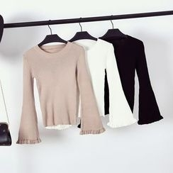 Bloombloom - Plain Ribbed Knit Long Sleeve Top