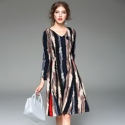 Y:Q - Striped Long-Sleeve A-Line Dress
