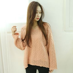 Dodostyle - V-Neck Asymmetric-Hem Knit Top