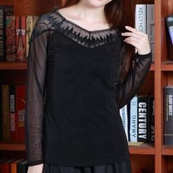 camikiss - Lace Mesh Panel Long-Sleeve Top