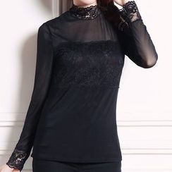 camikiss - Lace Panel Long-Sleeve Top