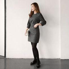 Seoul Fashion - Buttoned 3/4-Sleeve Sheath Dress
