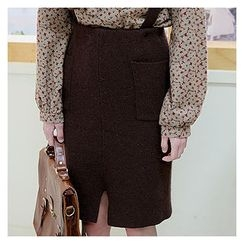 Sechuna - Wool-Blend Detachable Suspender Corduroy Skirt