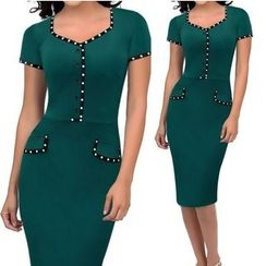Forest Of Darama - Dotted Short-Sleeve Sheath Dress