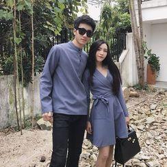 AJIEJIA - Couple Matching Long Sleeve Dress / Half Placket Band Collar Shirt