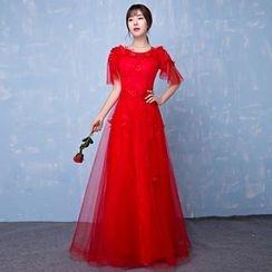 Loree - Short-Sleeve Evening Dress