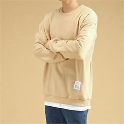 THE COVER - Round-Neck Layered-Hem Pullover