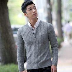 VINTAGE BROTHERS - Buttoned Cable Knit Top