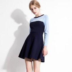 Halona - Color-Block A-Line Dress