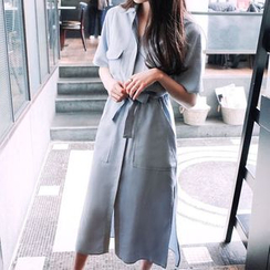 Carabecca - Tie-waist Short-Sleeve Shirtdress
