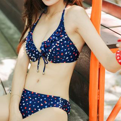 LANYI - Set : Print 2-piece Swimdress + Cover-up