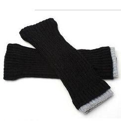 Nirvana Nation - Contrast-Trim Fingerless Long Gloves