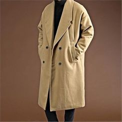 THE COVER - Double-Breasted Wool Blend Long Coat