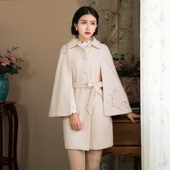 GU ZHI - Embroidered Tie-Waist Cape Coat