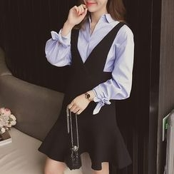 Cocofield - Set: Long-Sleeve Blouse + V-neck Suspender Dress