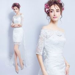 Angel Bridal - Lace Cocktail Dress