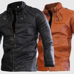 Bay Go Mall - Faux Leather Zip Jacket