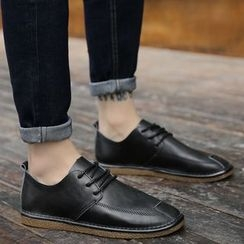 MR.GONG - Faux Leather Lace-Up Shoes