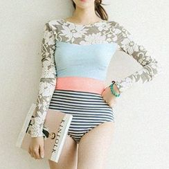 Moonrise Swimwear - Floral Print Stripe Paneled Long-Sleeve Swimsuit