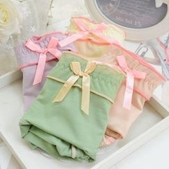 QIANLEE - Bow-Accent Panties 4pcs