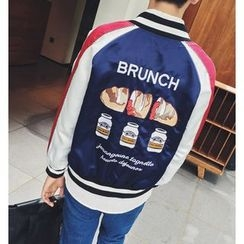 Zeesebon - Embroidered Colour Block Baseball Jacket