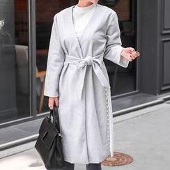 Seoul Fashion - V-Neck Faux-Pearl Detail Cardigan With Sash