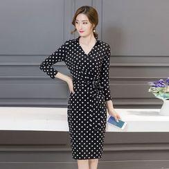 Crista - Long-Sleeve Dotted Sheath Dress