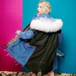 妖精的口袋 - 连帽牛仔拼接夹棉大衣