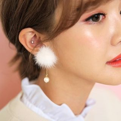 Ticoo - Pompom Faux Pearl Earrings