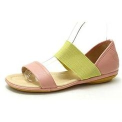 MODELSIS - Genuine Sheepskin Two-Tone Sandals