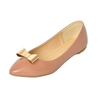 yeswalker - Bow-Accent Pointy Toe Flats