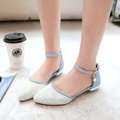 Shoes Galore - Glitter Pointy Flats with Ankle Strap