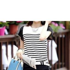 Zyote - Chiffon Panel Striped T-Shirt