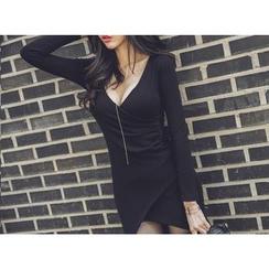 UUZONE - Asymmetric-Hem Wrap-Front Bodycon Dress