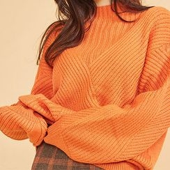 chuu - Mock-Neck Oversized Rib-Knit Sweater