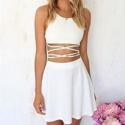 Flobo - Set: Lace-Up Bra Top + A-Line Skirt