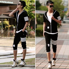Bay Go Mall - Set: Stripe Zip Jacket + Pedal Sweatpants