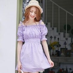 Tokyo Fashion - Off-Shoulder Smocked Gingham Dress