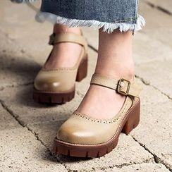 MIAOLV - 飾扣粗跟高跟鞋