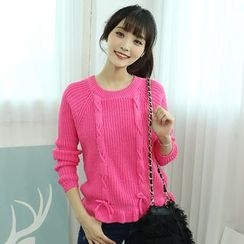 Dodostyle - Bow-Appliqué Round-Neck Knit Top