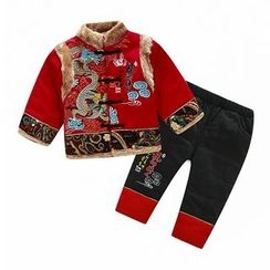 KUBEBI - Kids Set: Chinese Flurry Jacket + Pants