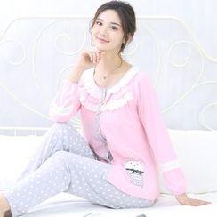 Kream - 家居服套裝:哺乳上衣 + 圓點褲