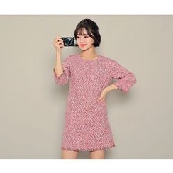 HOTPING - 3/4-Sleeve Tweed Dress
