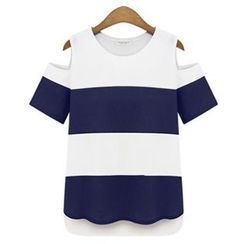 VIZZI - Stripe Cutout Shoulder Short-Sleeve T-Shirt