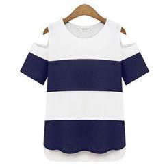 VIZZI - 条纹镂空肩短袖T恤
